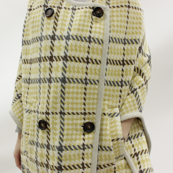 f488e98d08e72 See By Chloe Jackets & Coats | Seebychloe Plaid Yellow Poncho Nwot ...